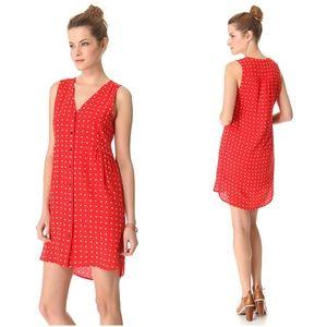Madewell Odette Red Silk Floral Print Sheath Dress